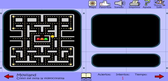 Imagen donde se puede ver el tradicional juego del comecocos