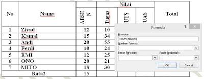 Menghitung Angka di Tabel Word
