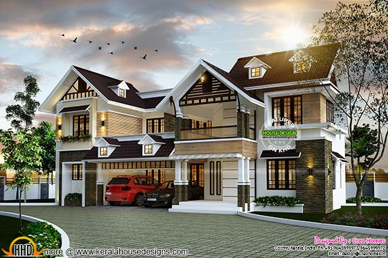Kerala type home design with dormer windows