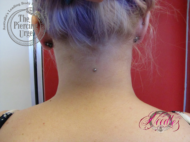 Healed Micro Dermal with Amethyst Bezel Gemset title=