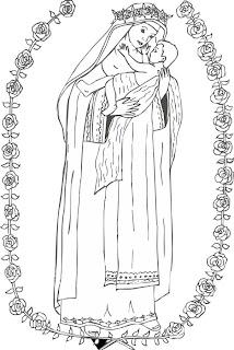 Santa Rosa de Lima y el Niño Jesús colorear