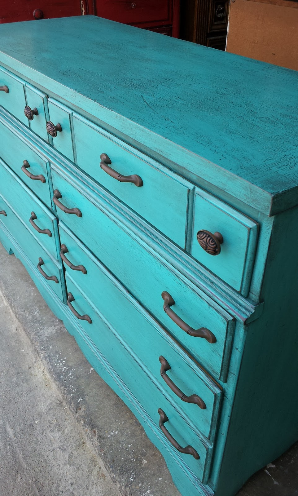 Rustic Turquoise Maple Dresser Before & After Facelift