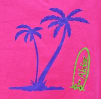 T-Shirt Surf et palmiers rose prénom Aloïse. personnalisé