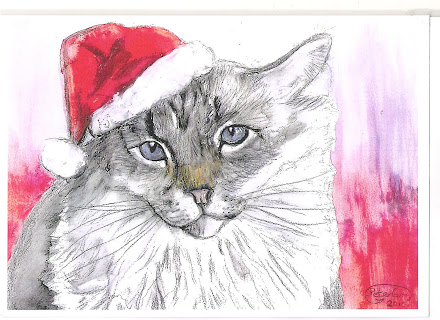 Cat in Christmas hat covering one ears pic