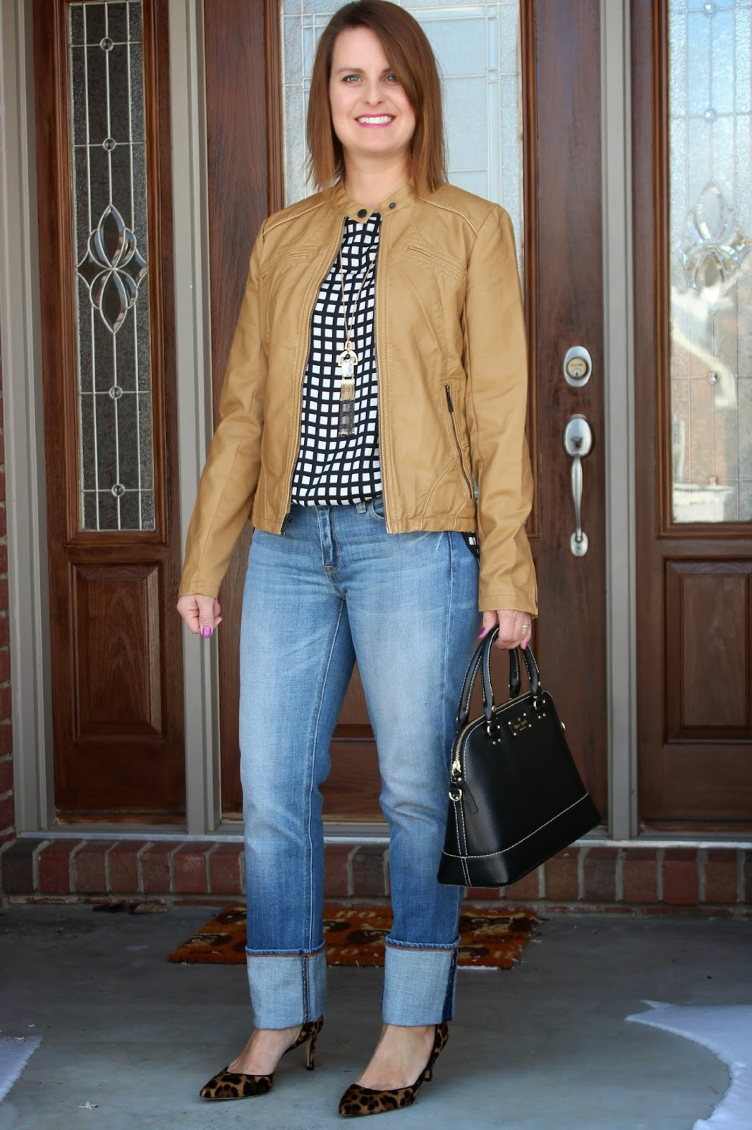 Express (minus the) leather jacket in butterscotch (cognac), large big cuff j crew jeans in straight and narrow, window pane blouse, leopard heels