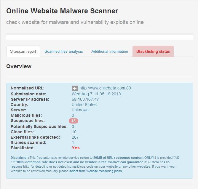 Quttera online malware scanning