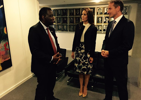 Crown Princess Mary of Denmark attend a meeting with Foreign Minister Christian Jensen and Executive Director of UNFPA at the Ministry of Foreign Affairs of the Dk