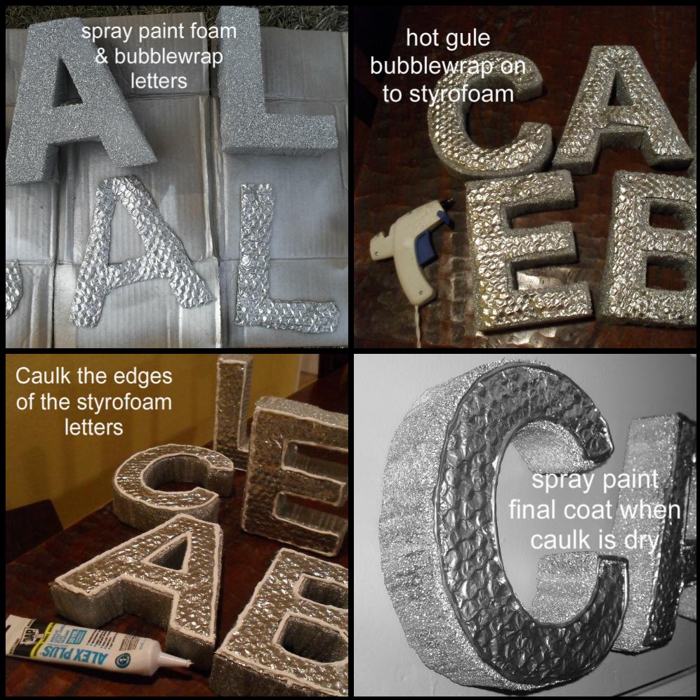 Real steel meets styrofoam diy just a little creativity for Giant foam letters diy