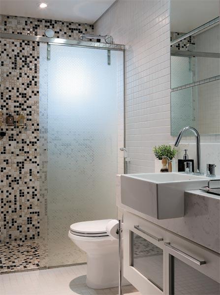 Sítio Bela Vista Banheiro Preto e Branco -> Banheiro Com Pastilha De Vidro Branca