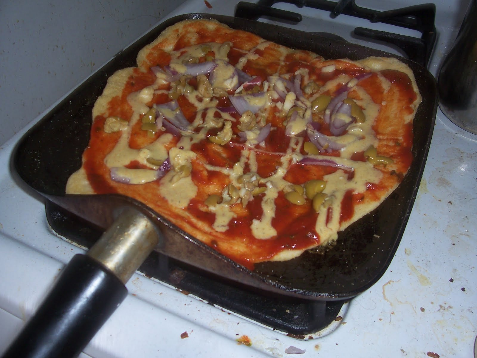 stovetop vegan pizza