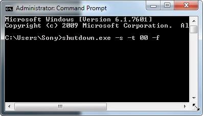perintah DOS shutdown cepat