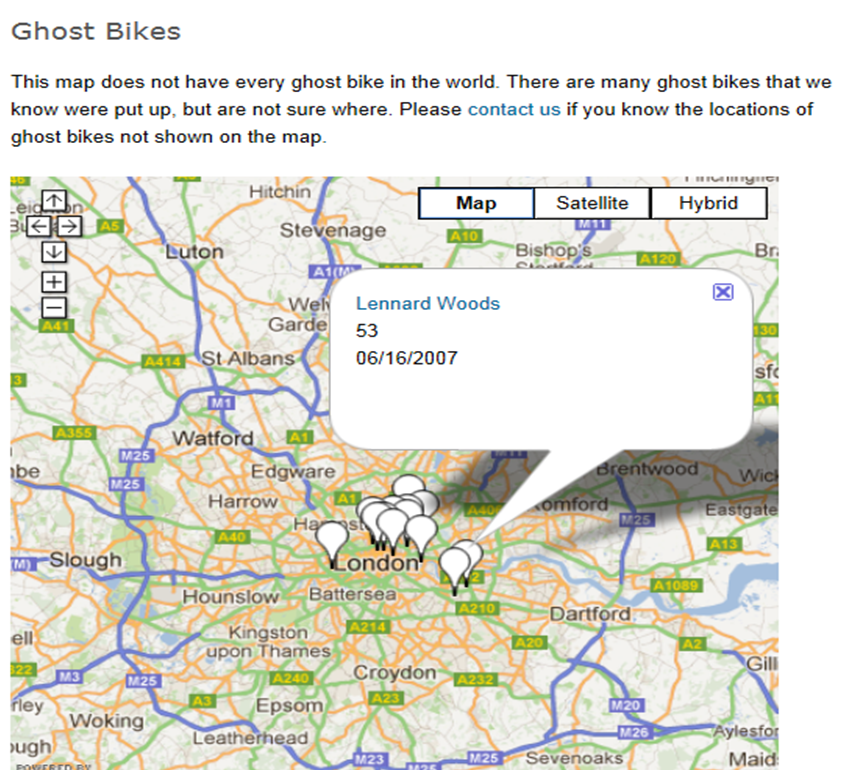 i could use this map to show me where i can find a ghost bike to photograph as you can see from looking at the map there are many ghost bikes in london