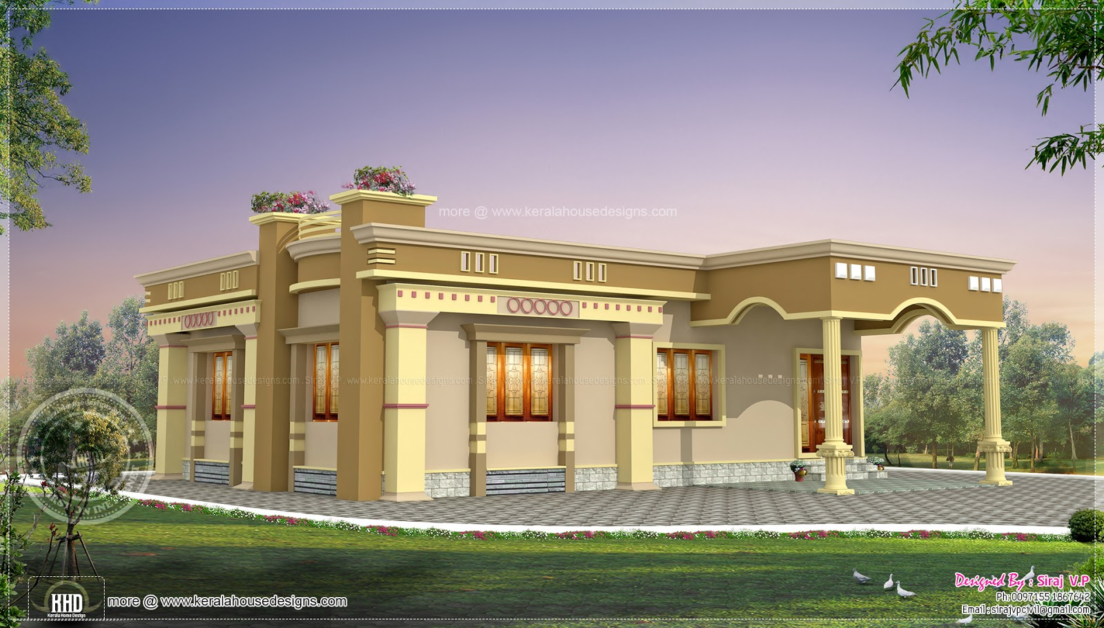 Small south indian home design home kerala plans for Indian house portico models