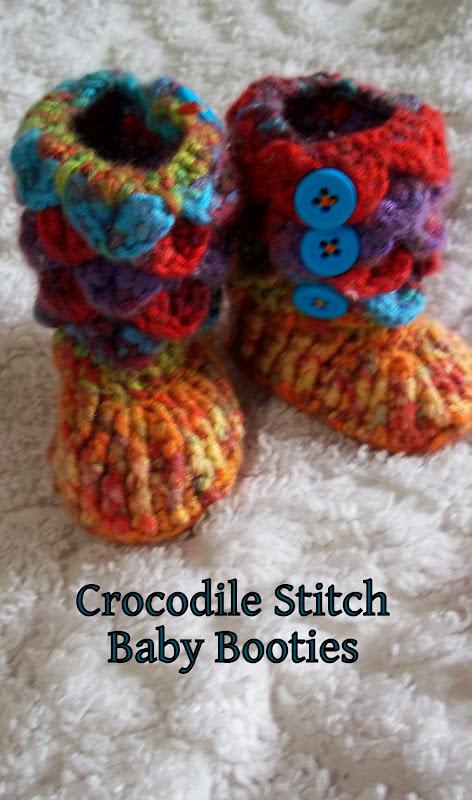 Yarn Over Crocodile Stitch Baby Booties