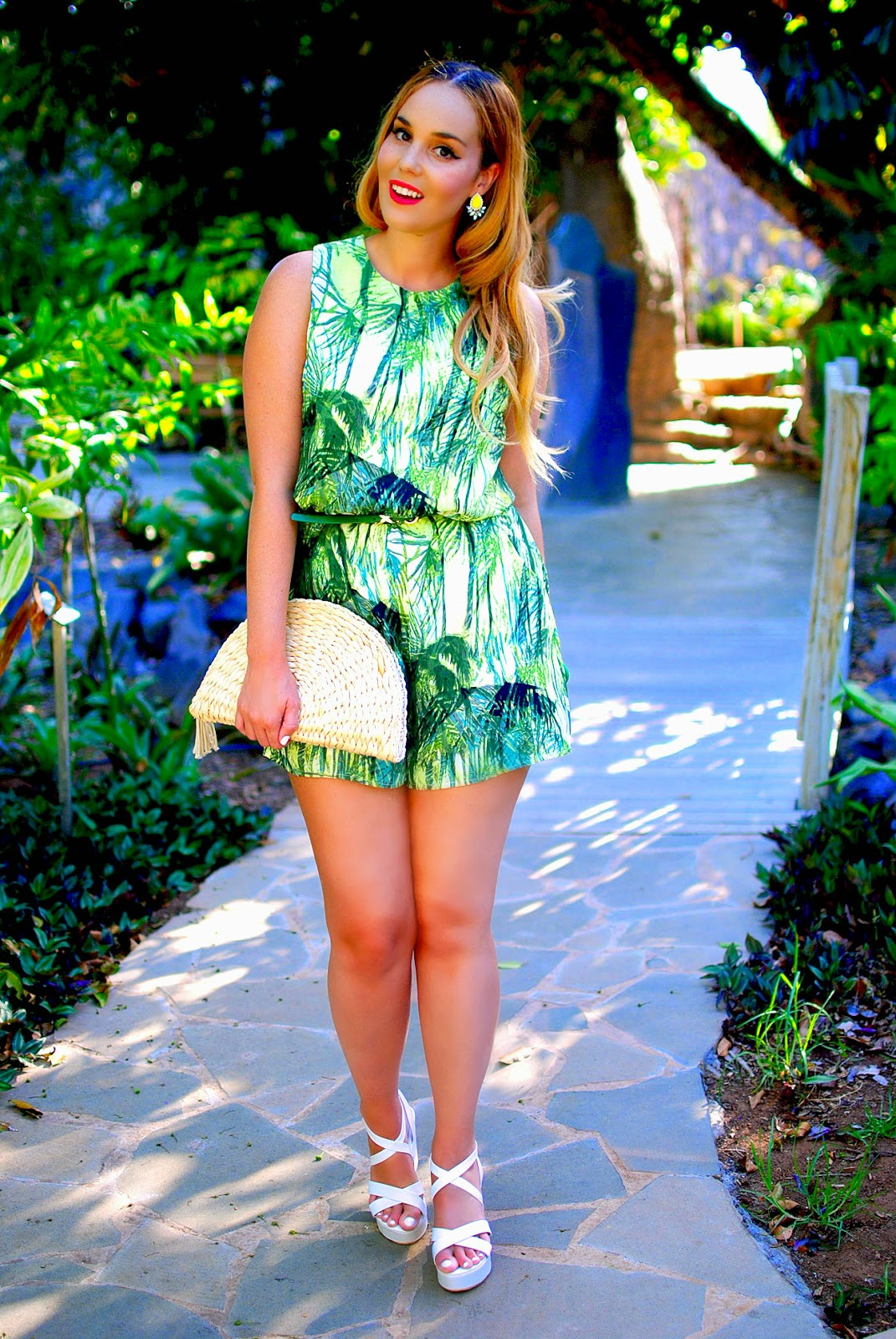 vessos, nery hdez, jungle print, palms print, white sandals, blonde, playsuits, rosewholesale