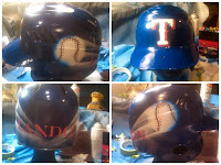 Airbrushed Rangers Baseball Helmet Custom Paint
