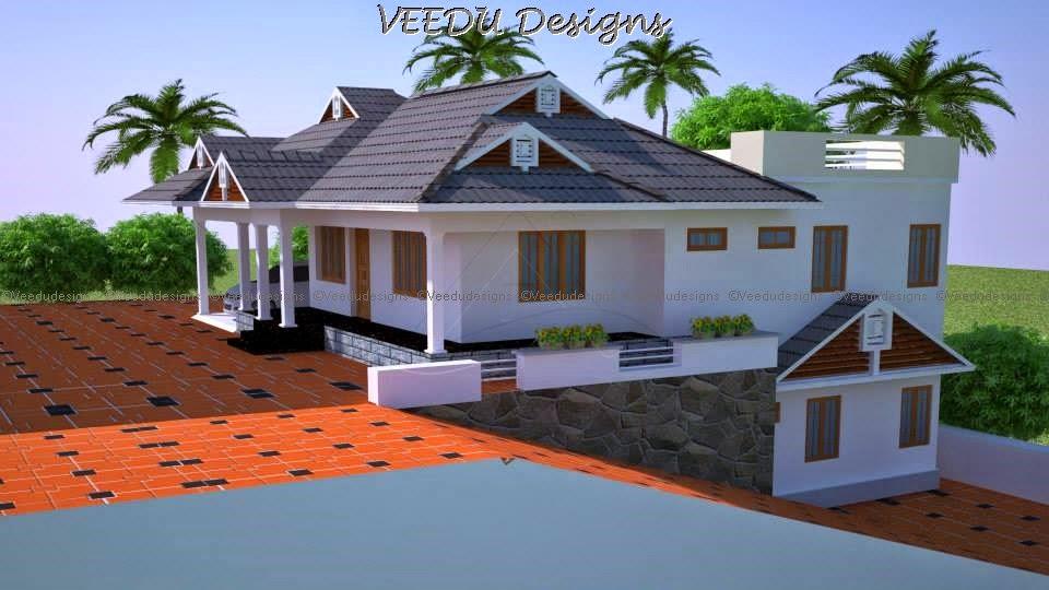 Veedu Designs Veedu Designs Single Storied 3 Bed Room
