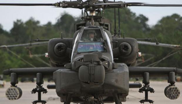 Helikopter AH-64 Delta Apache Longbow milik Angkatan bersenjata Amerika Serikat.