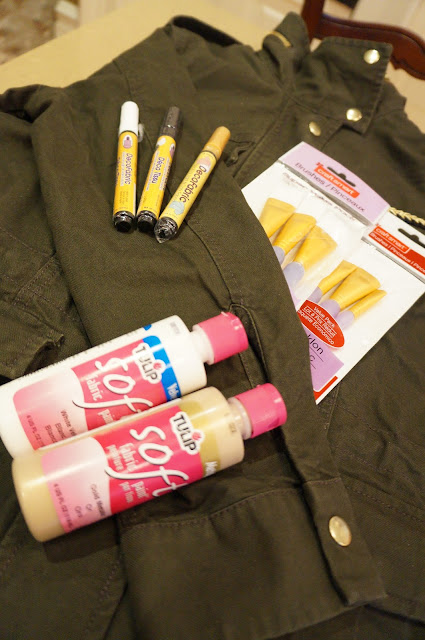 Jacket, Fabric Paint, Paint brushes