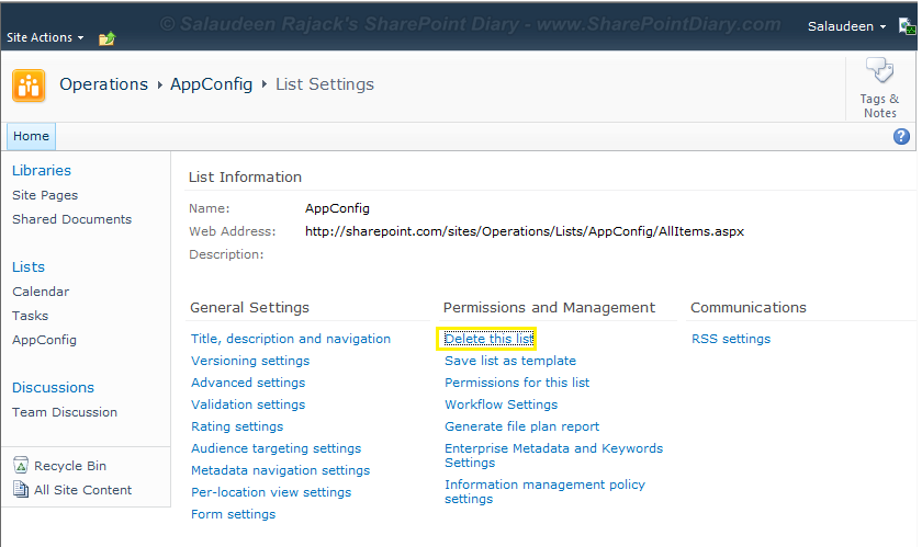 SharePoint list hide delete option