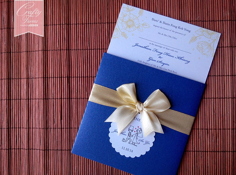 Blue and Yellow Themed Wedding Card Pocket