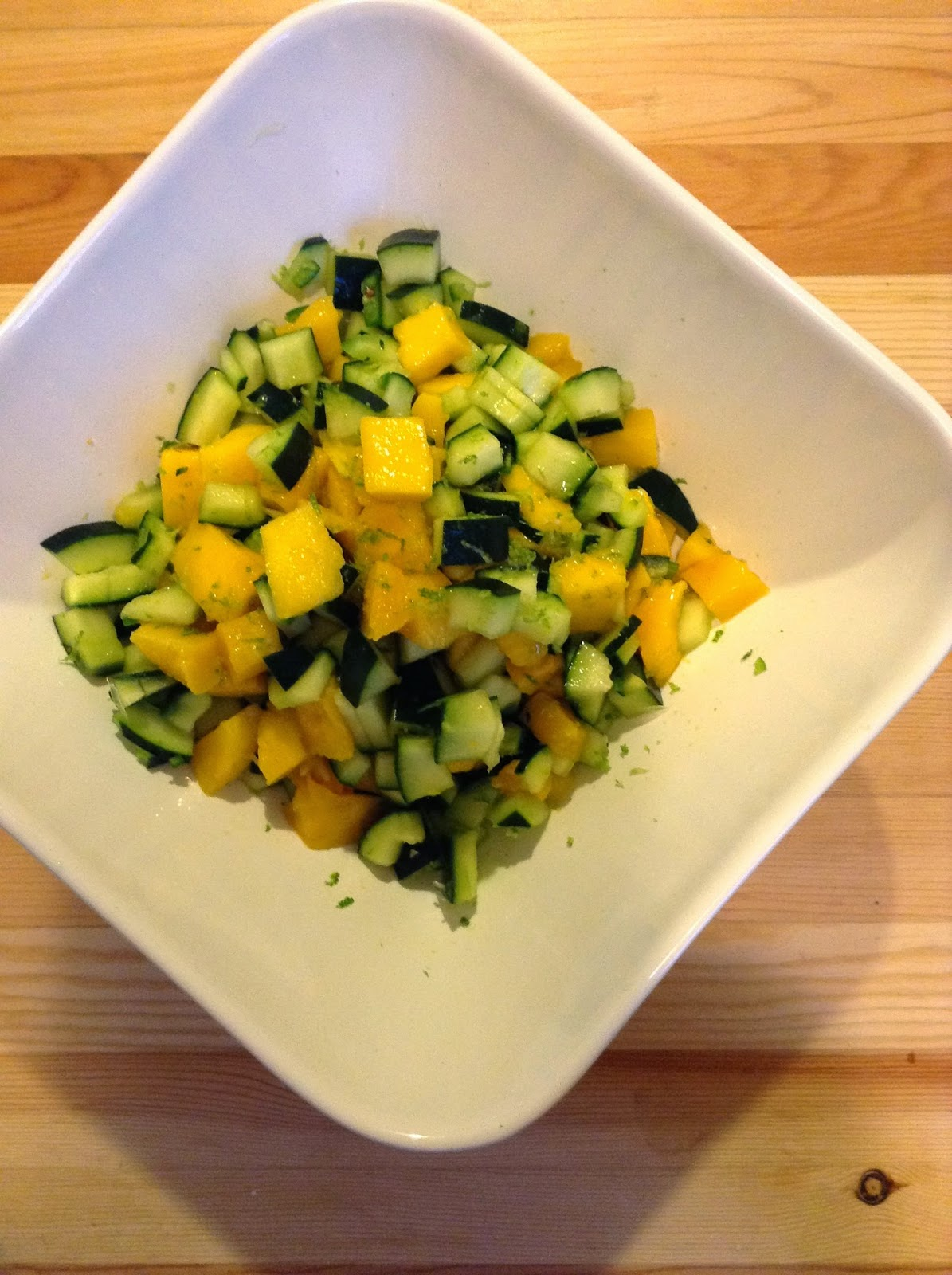 Diced mango, diced cucumber, diced jalapeno pepper mixed together and dressed with lime juice and zest