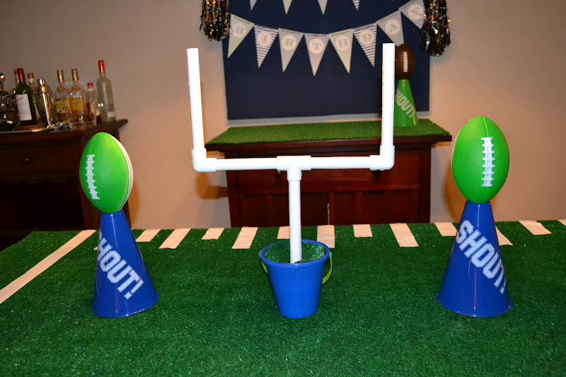 Homemade football party decorations the cake and party favors