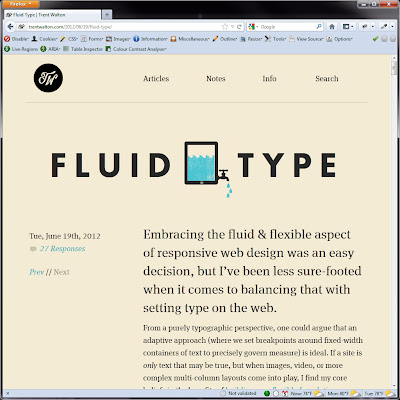 Screen shot of http://trentwalton.com/2012/06/19/fluid-type/.