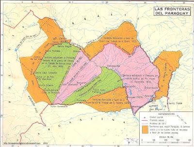 Paraguay, En naranja, territorios perdidos por Paraguay; en verde, territorios disputados que pudo retener