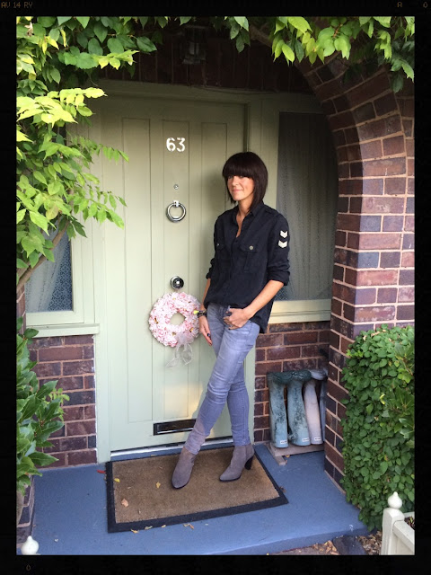 My Midlife Fashion, Zara, Cowboy boot heels, Mango soft military shirt