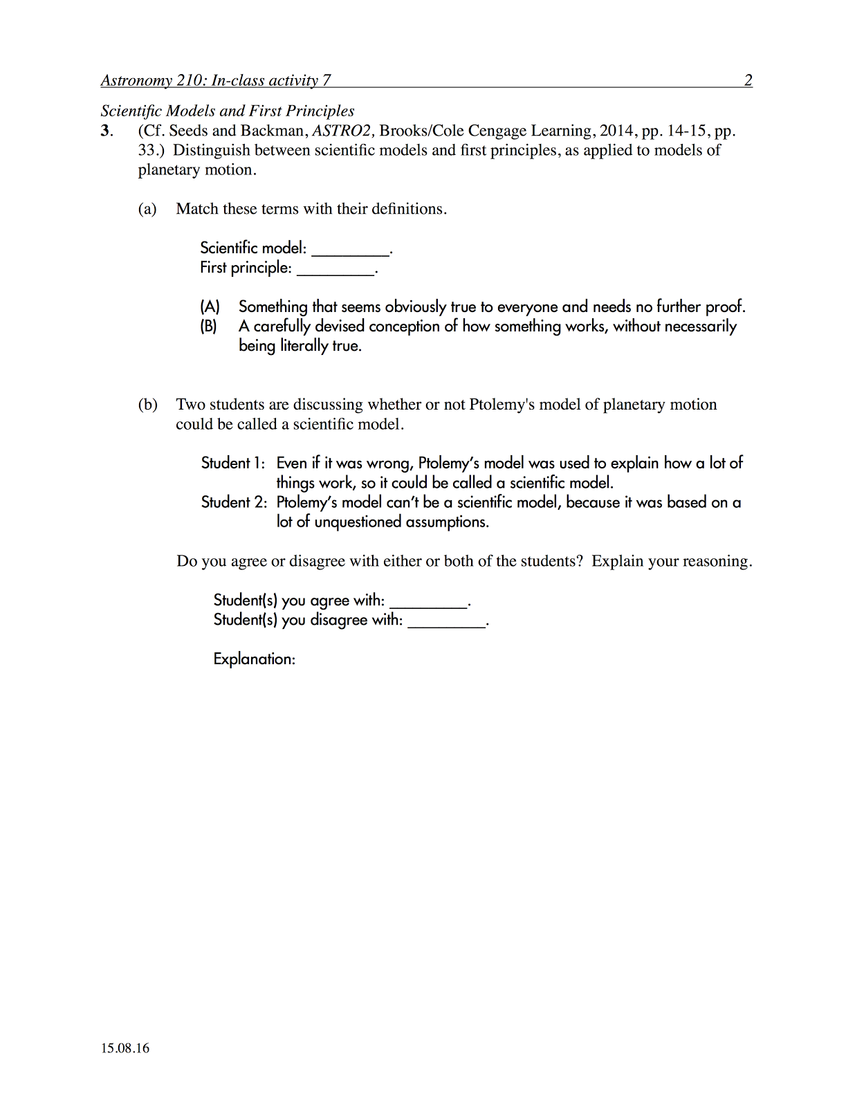 worksheet Laws Of Motion Worksheet p dogs blog boring but important astronomy in class activity and work cooperatively on an worksheet to analyze how the ptolemaic copernican models reproduce progra