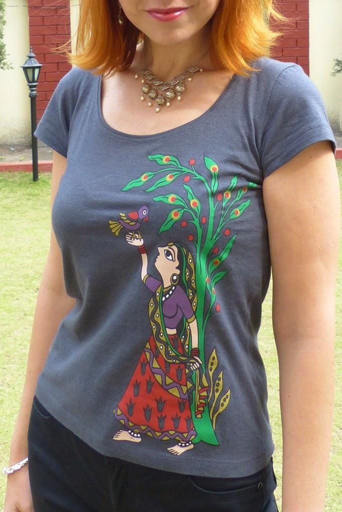 Madhubani print t-shirt, traditional style necklace