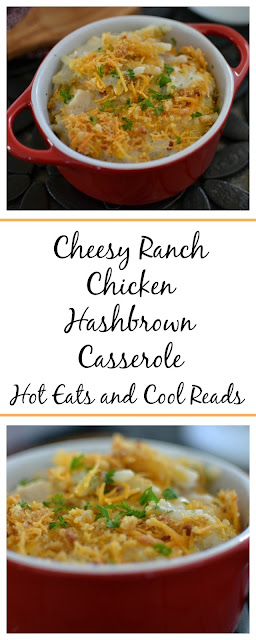 A pure comfort food casserole that the whole family will love! Tons of cheesy, ranch goodness! Cheesy Ranch Chicken Hashbrown Casserole Recipe from Hot Eats and Cool Reads!