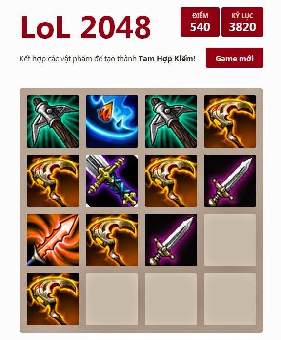 Chơi game liên minh huyền thoại LOL 2048 online trực tuyến