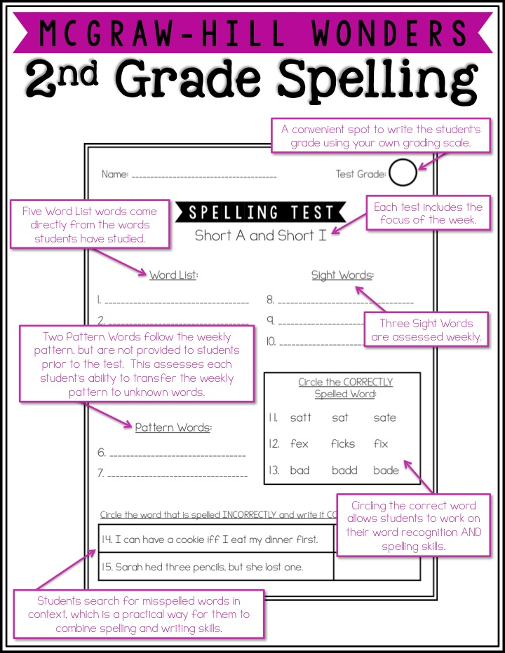 McGraw-Hill Wonders Second Grade Spelling