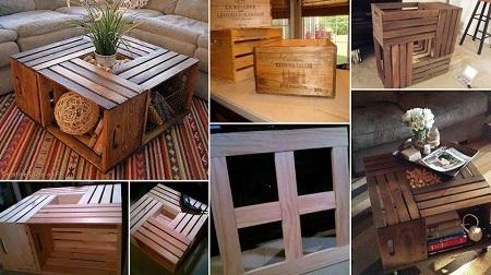 Ideas para reciclar cajas de madera mesa reciclada con cajas de vino - Mesas con cajas de madera ...