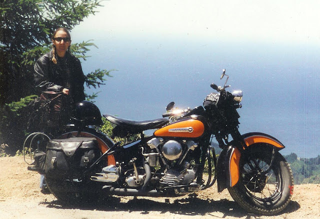 Stock 1947 Harley Knucklehead black and orange