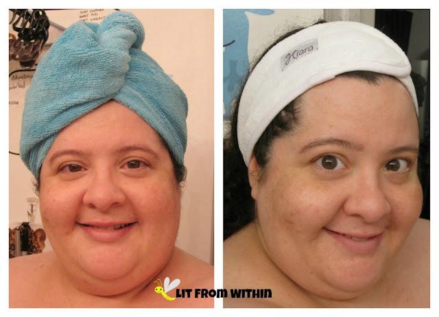 wearing the Hiara hair towel and headband