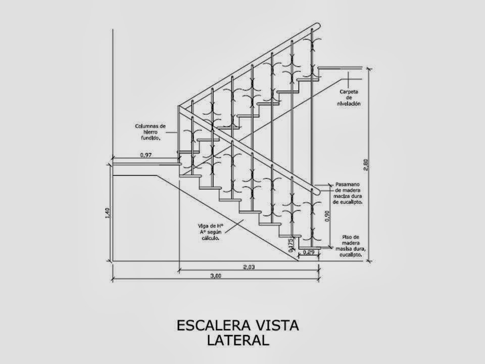 Dise a estudio dise o c lculo y detalles constructivos for Escalera de metal con descanso