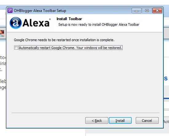 Cara pasang Alexa Toolbar OHBlogger di Pelayar Internet