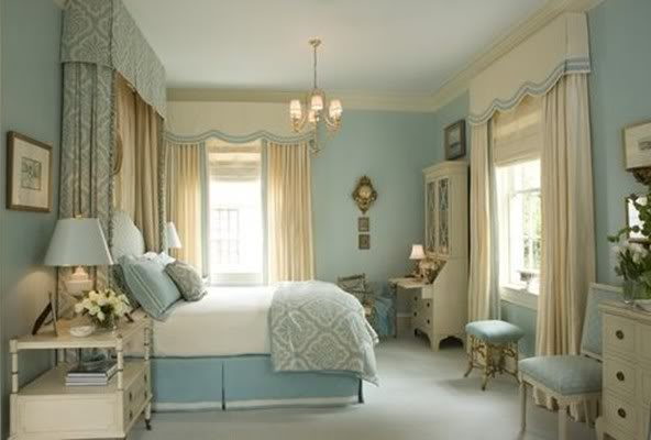 blue-bedroom-window-treatments-canopy-benches-eclectic-home-decor ...