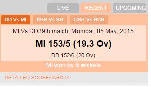 Live Cricket widget