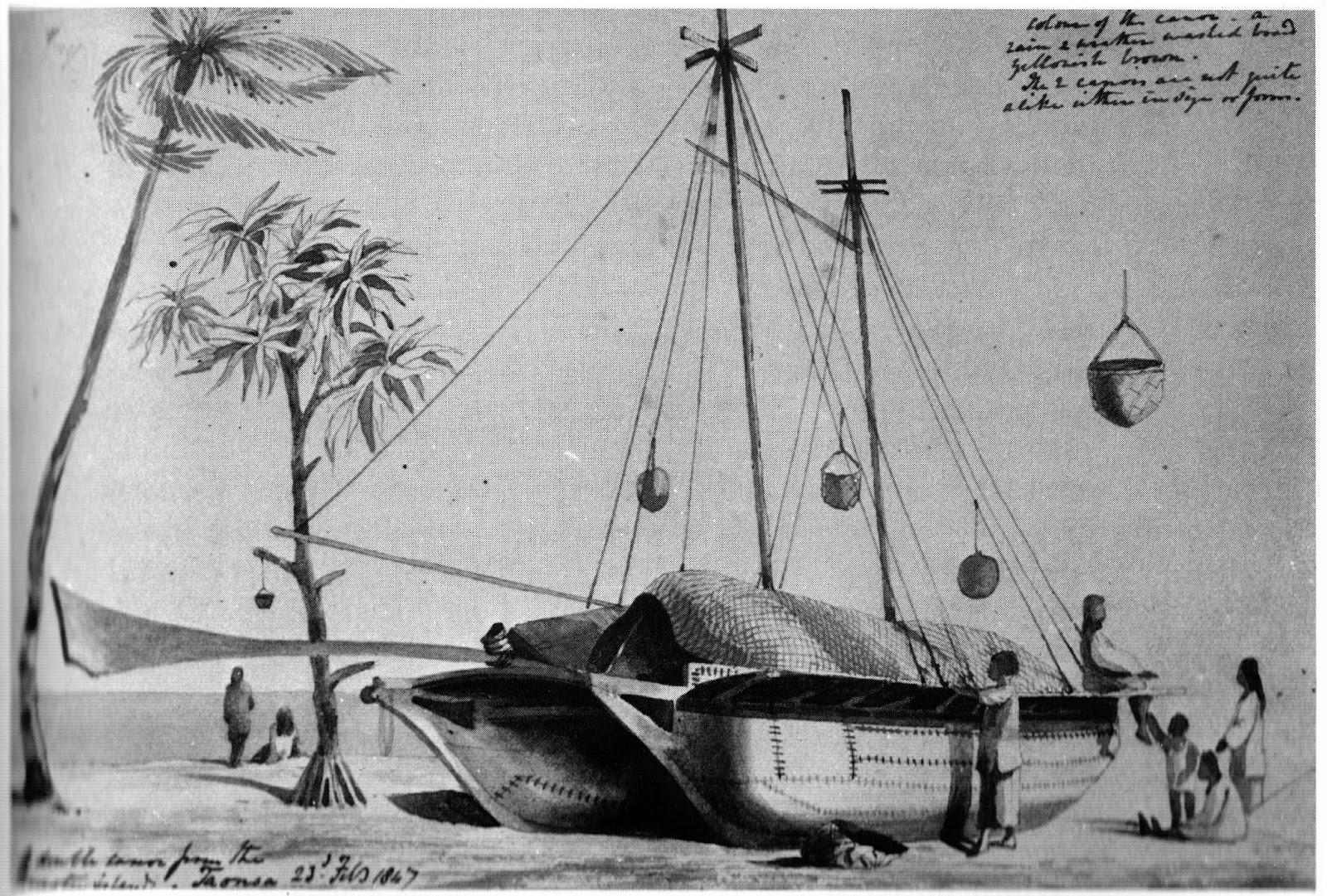 Tuamotu double canoe, by Capt. Henry Byam Martin, RN.