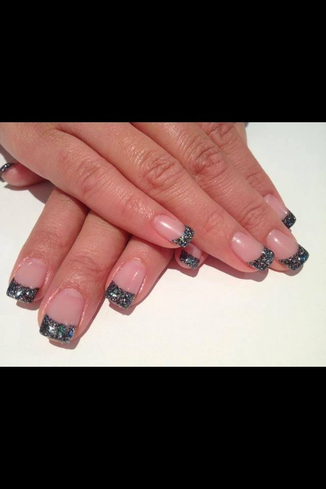 Black acrylic frenchies with embedded star decals-Acrylic sculpts and custom mix french glitz