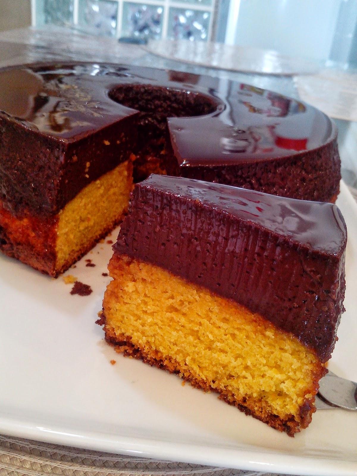 receita Bolo Pudim de Cenoura e Chocolate