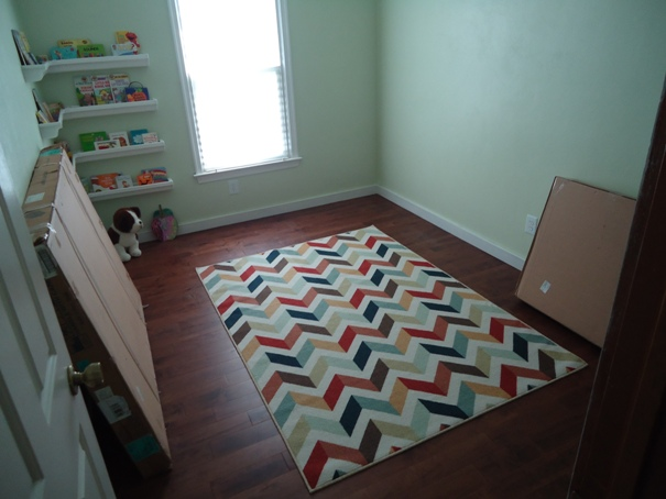 Nursery with bookshelves and area rug
