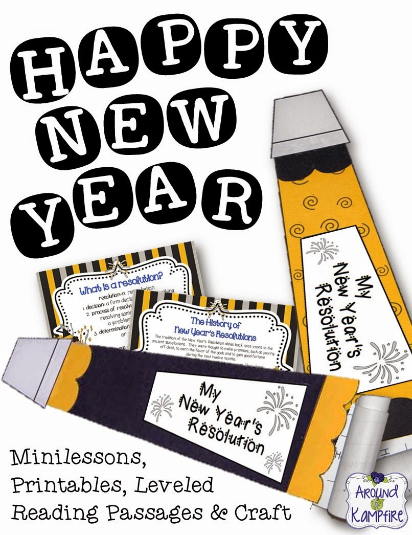 New Year's party horn writing craft with minilessons on the history of the New Year celebration, defining a resolution, and leveled reading passages.