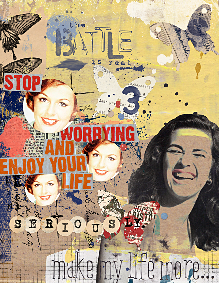 mixed media art journaling page   digital scrapbooking   The Lilypad   Sissy Sparrows