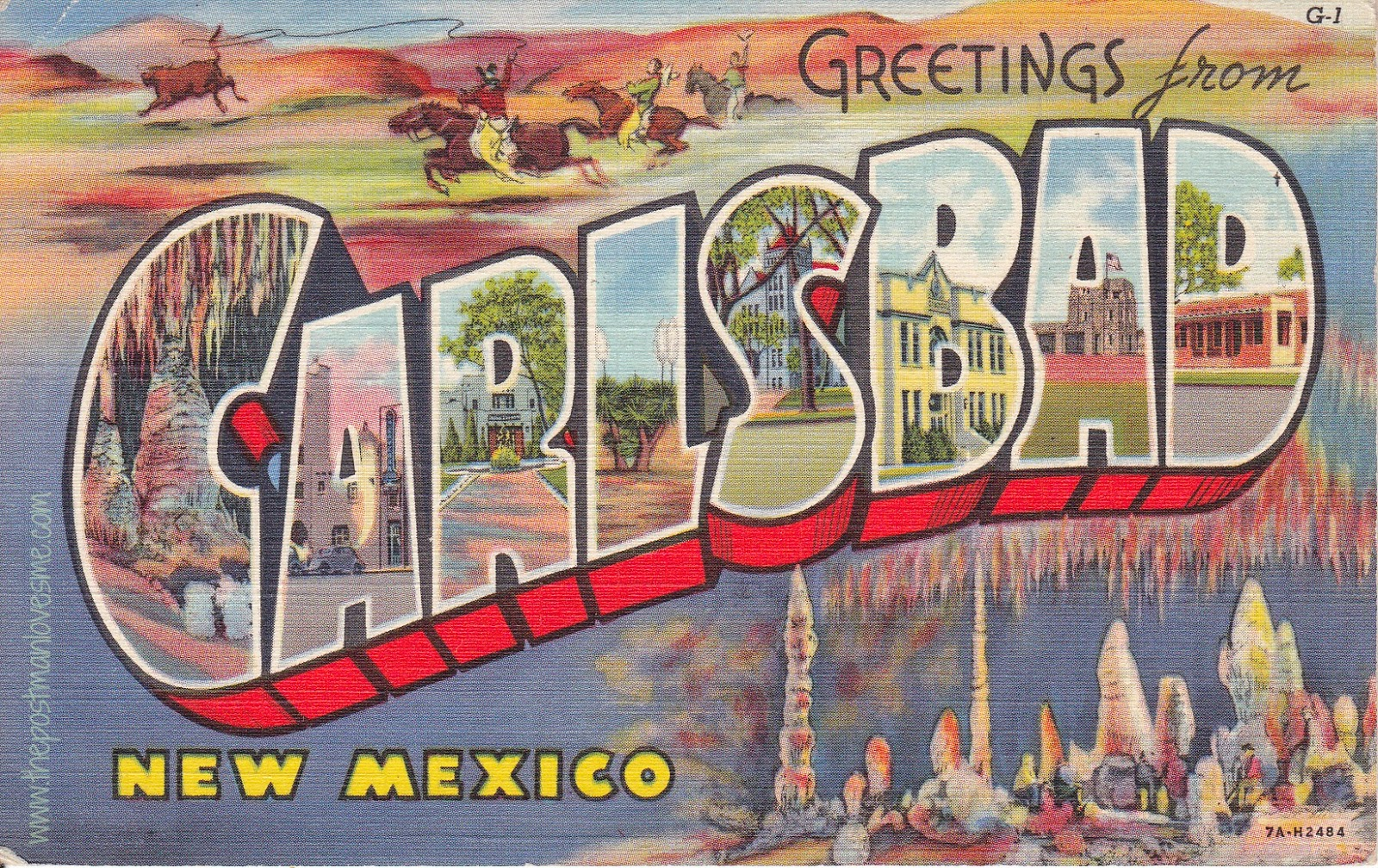 Greetings from Carlsbad, NM Vintage Linen Postcard