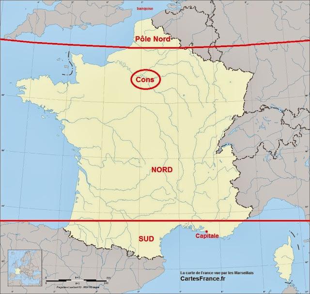 Carte de France vue par les Marseillais